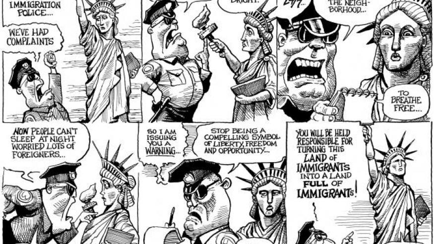 Anti immigration police cartoon