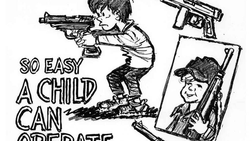 No Caption: Poster of guns guns guns and child